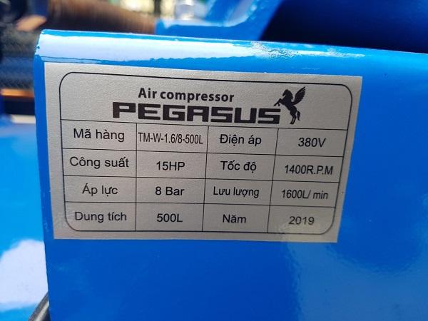 Máy nén khí Pegasus 500L 15Hp TM-W-1.6/8-500L